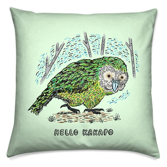 Hello Kakapo, throw pillow cover, animal cushion, including insert by Oliver Lake