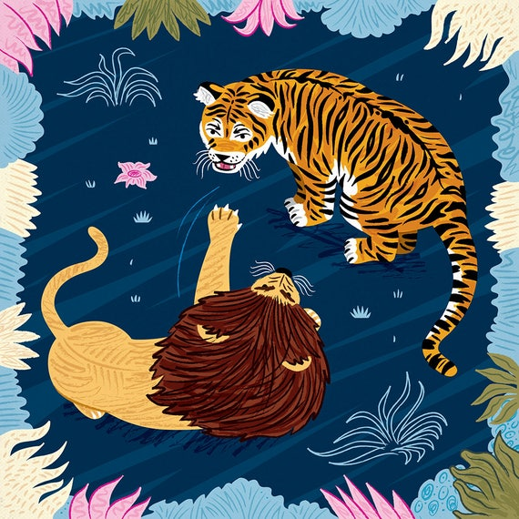 Rumble In The Jungle - Lion and Tiger animal art poster print by Oliver Lake - iOTA iLLUSTRATiON