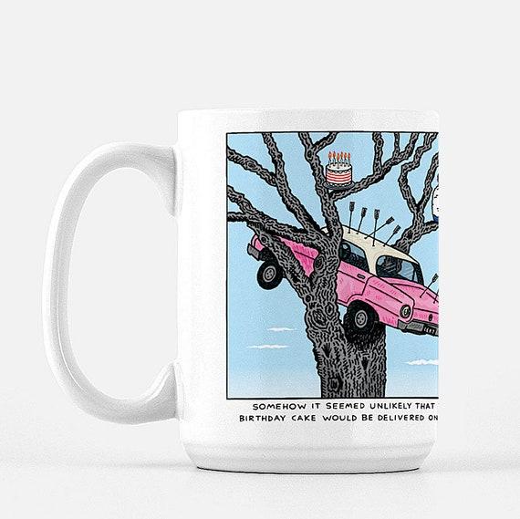 Cake Delivery, deluxe ceramic mug, large size mug, 15 Oz, funny design, illustrated mug by Oliver Lake