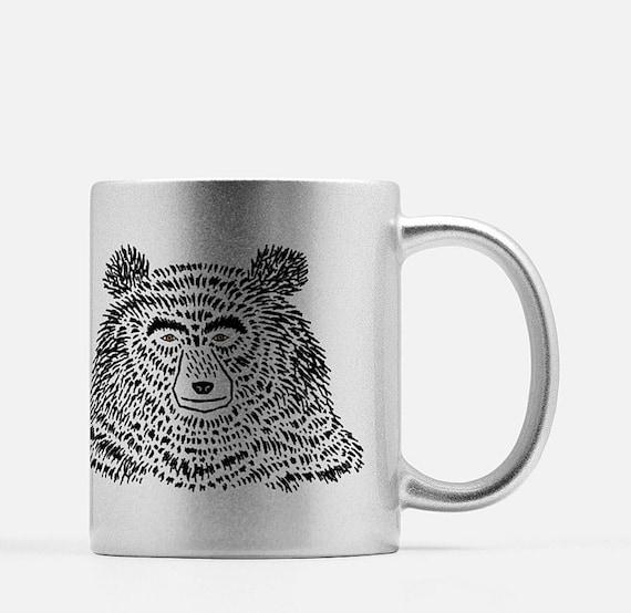 The Bear - silver ceramic mug - animal design - illustrated mug by Oliver Lake