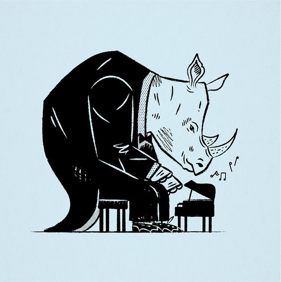 Rhinoceros Rhapsody - rhino - animal art poster print by Oliver Lake - iOTA iLLUSTRATiON