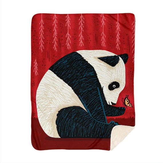 "The Panda and The Butterfly, children's sherpa blanket, nursery decor, 60"" x 80""  by Oliver Lake"