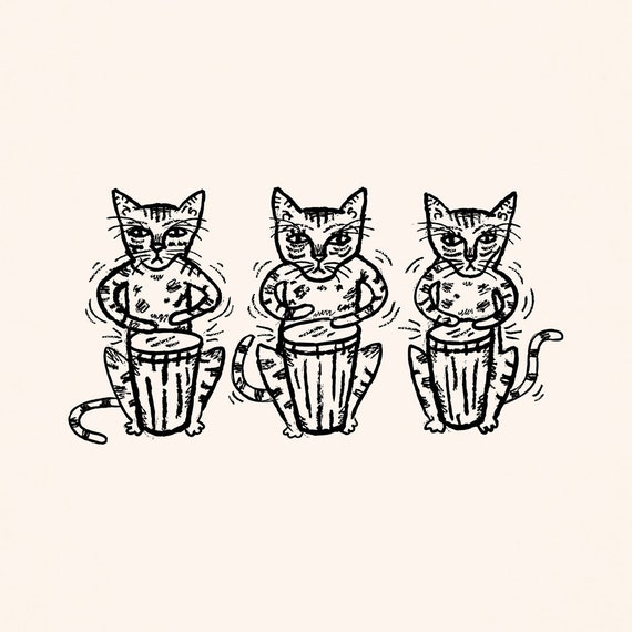 Bengal Bongos - Bengal cats drumming art print by Oliver Lake - iOTA iLLUSTRATiON