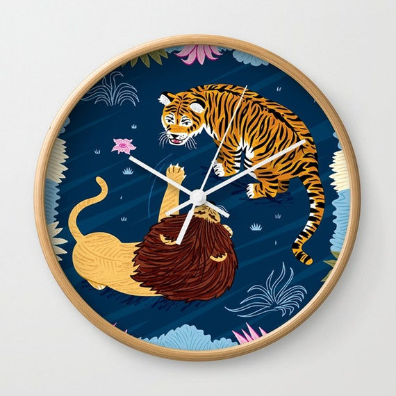 Rumble In The Jungle - Tiger and Lion - illustrated wall clock - by Oliver Lake - iOTA iLLUSTRATiON