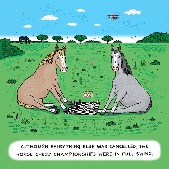 Horse Chess - single panel comic - limited edition art print by Oliver Lake - iOTA iLLUSTRATION