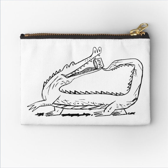 """There Is a Hungry Crocodile,  zipper pouch, pencil case, make up bag - 6"""" x 4""""  / 9.5"""" x 6"""" / 12.4"""" x 8.5"""" Oliver Lake"""