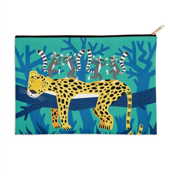 "The Leopard and The Lemurs - pencil case - make up bag - zip pouch - 12.5"" x 8.5"""