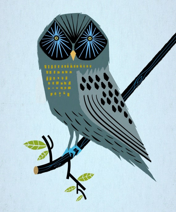 The Perching Owl - Limited Edition Animal Art Print by Oliver Lake - iOTA iLLUSTRATION
