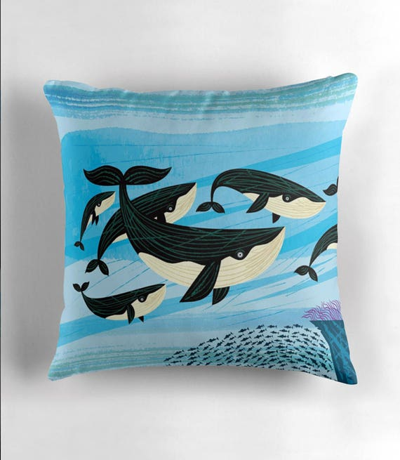 Whale Swim - throw pillow cover / cushion cover by Oliver Lake iOTA iLLUSTRATION