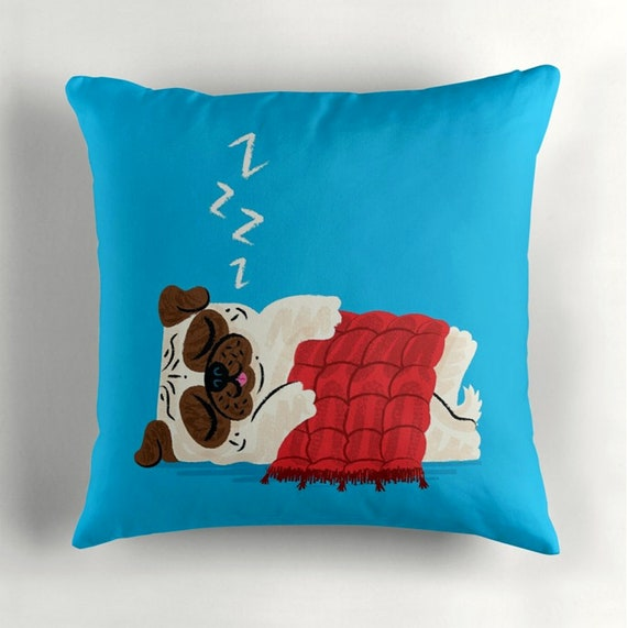 """Pug In A Rug - cyan - pugs / dogs - Throw Pillow / Cushion Cover (16"""" x 16"""") by Oliver Lake / iOTA iLLUSTRATION"""