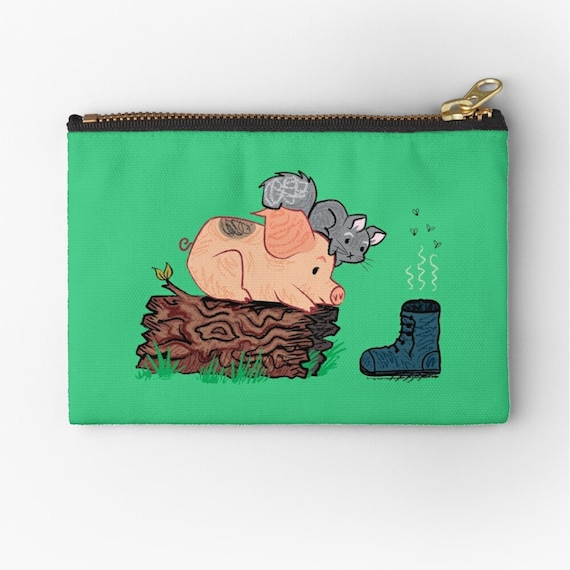 "Discovered Treasure coin purse green  zipper pouch pencil case make up bag 6"" x 4""  / 9.5"" x 6"" / 12.4"" x 8.5"" Oliver Lake iOTA iLLUSTRATiON"