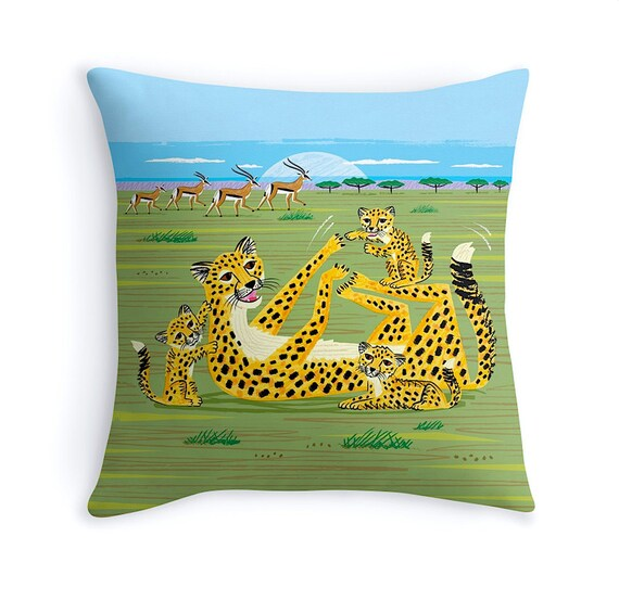 "Cheetahs and Gazelles - illustrated Animal Cushion cover / Throw Pillow cover (16"" x 16"") by Oliver Lake"