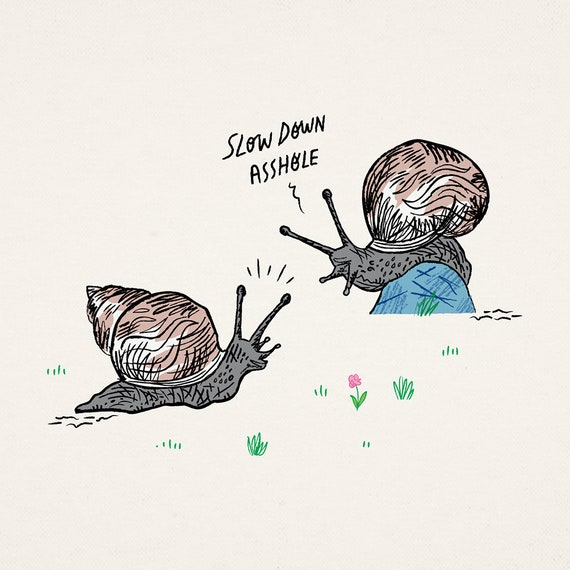 Snail Rage - animal art poster print by Oliver Lake - iOTA iLLUSTRATiON