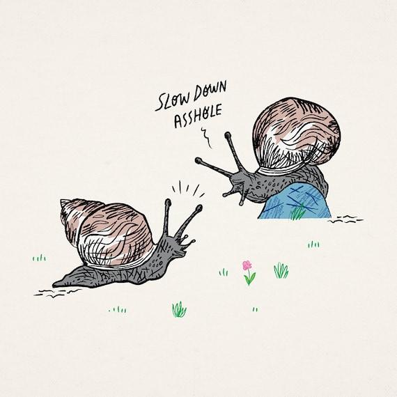 Snail Rage - animal art poster print by Oliver Lake - iOTA iLLUSTRATiON