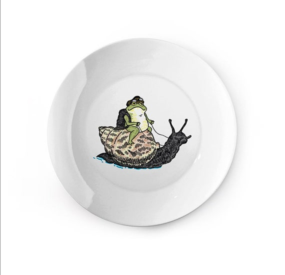The Snail and The Frog - china plate - animal design by Oliver Lake iOTA iLLUSTRATiON