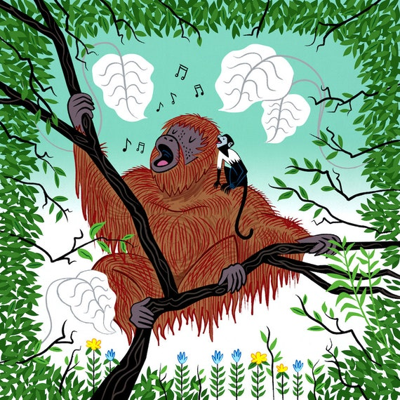 Simian Songs - orangutan and monkey - animal art print by Oliver Lake
