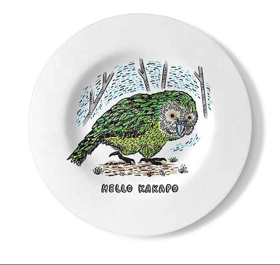 Hello Kakapo, decorative wall plate, handmade wildlife plate, by Oliver Lake