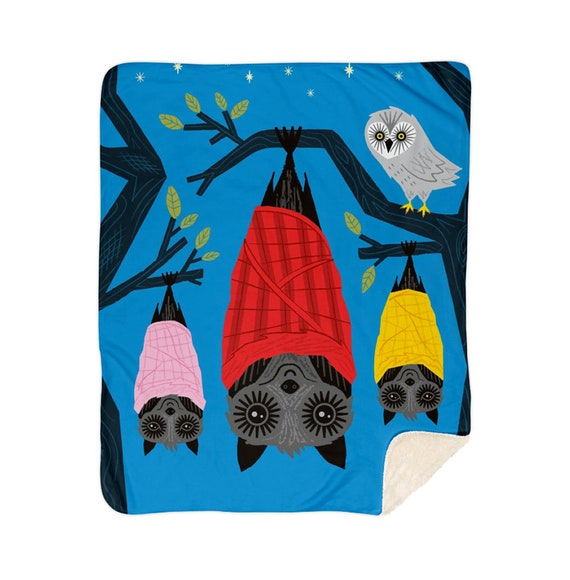 "Bats In Blankets - children's sherpa blanket - nursery decor - 50"" x 60"" / 60"" x 80"""