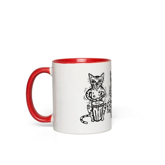 Bengali Bongos - Cat Mug - Red Coloured Handle Mug - Red Accent Mug