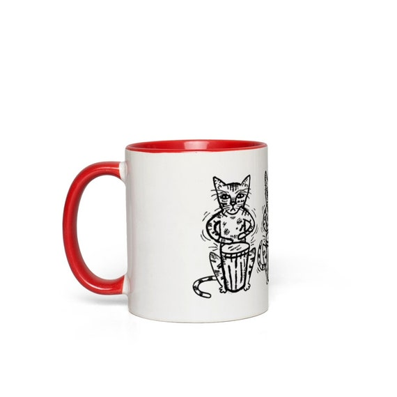 Bengali Bongos, Cat Mug,  red handle Mug, red accent mug by Oliver Lake