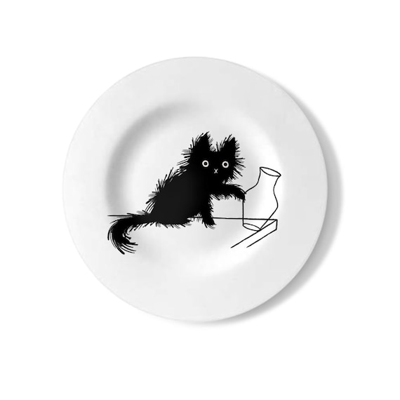 Moggy (No.5), cat plate, decorative wall plate, handmade, black and white plate, by Oliver Lake