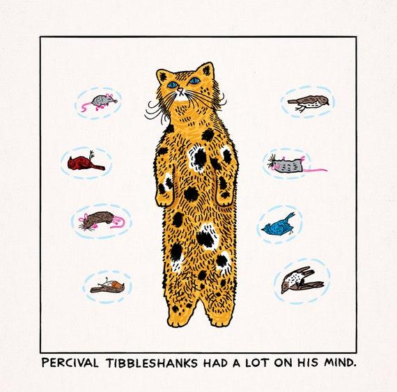 Inside The Mind of Percival Tibbleshanks - funny cat animal art poster print by Oliver Lake - iOTA iLLUSTRATiON