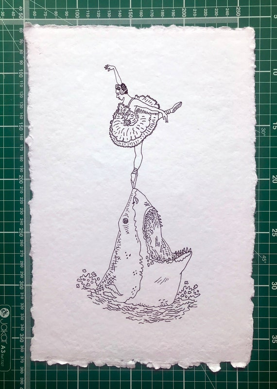 Grace Under Pressure, shark and ballerina, ballet, original drawing, 5 of 10 by Oliver Lake