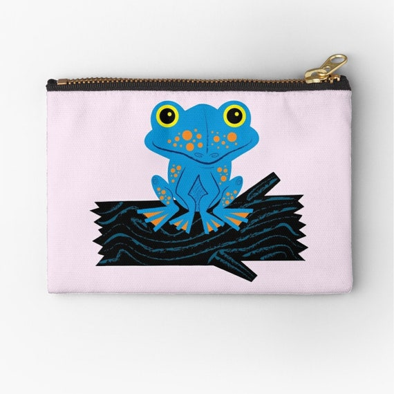 "Frog On a Log - zipper pouch - zip pouch - pencil case - make up bag - 6"" x 4""  / 9.5"" x 6"" / 12.4"" x 8.5"" by Oliver Lake"