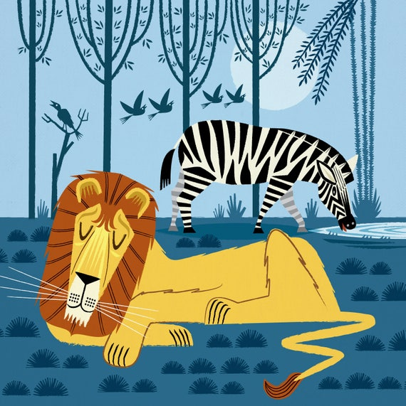 Whilst The Lion Sleeps - childrens - nursery room decor - Limited Edition - Animal Poster Art Print  by Oliver Lake iOTA iLLUSTRATiON
