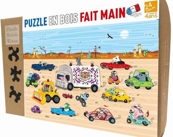 Children's Puzzle, 24 Piece wooden puzzle, animal puzzles, Desert Drive, perfect Christmas gift, hand-cut - handmade - educational
