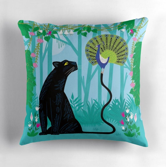 The Peacock and The Panther - throw pillow cover - children's nursery decor by Oliver Lake  iOTA iLLUSTRATION