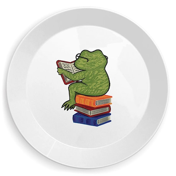 Frog Fiction - children's plate - kid's plates -  vegetable design by Oliver Lake iOTA iLLUSTRATiON