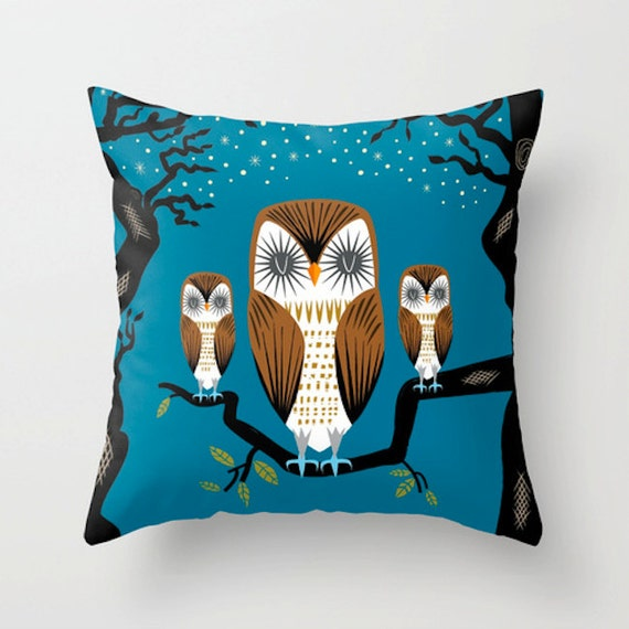 "Three Lazy Owls - Throw Pillow / Cushion Cover (16"" x 16"") iOTA iLLUSTRATION"