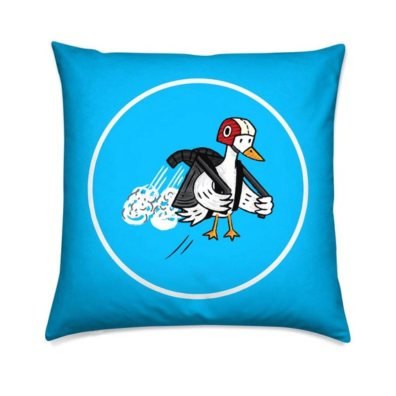 Jet Duck, cyan, children's pillow cover,  throw cushion cover, including insert, by Oliver Lake
