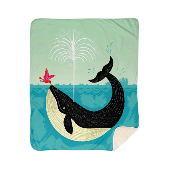 "The Bird and The Whale - children's sherpa blanket - nursery decor - 50""x 60"" and 60"" x 80""  by Oliver Lake iOTA iLLUSTRATiON"