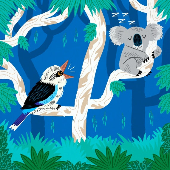 The Koala and the Kookaburra - children's wall art print - animal art children's room decor by Oliver Lake - iOTA iLLUSTRATiON
