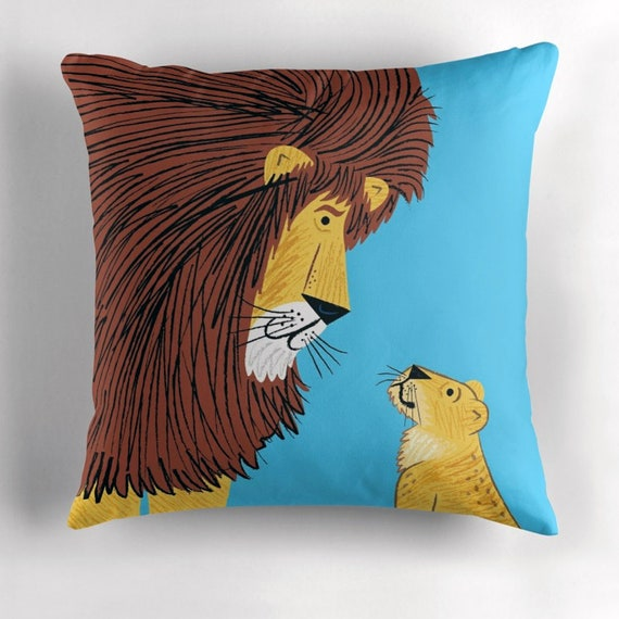 Listen To The Lion - cushion cover / throw pillow cover by Oliver Lake iOTA iLLUSTRATiON