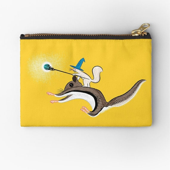 "Squirrel Sorcery - zipper pouch - zip pouch - pencil case - make up bag - 6"" x 4""  / 9.5"" x 6"" / 12.4"" x 8.5"" Oliver Lake iOTA iLLUSTRATiON"