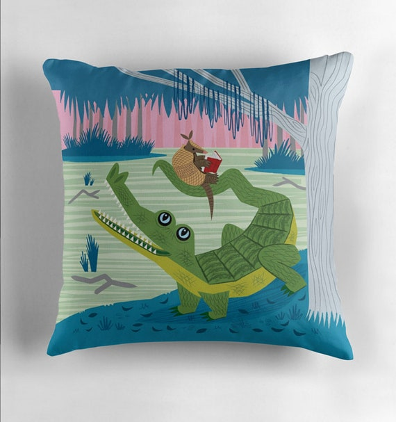 The Alligator and The Armadillo - Throw Pillow / Cushion Cover including insert by Oliver Lake iOTA iLLUSTRATION
