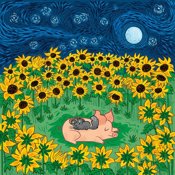 Among the Sunflowers - Animal Art Poster Print by Oliver Lake - iOTA iLLUSTRATiON