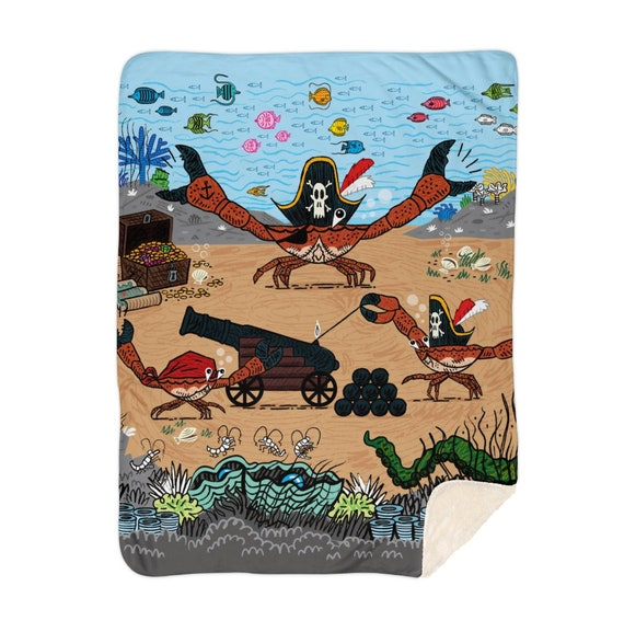 "Cannon Crabs - children's sherpa blanket - nursery decor - 60"" x 80""  by Oliver Lake iOTA iLLUSTRATiON"