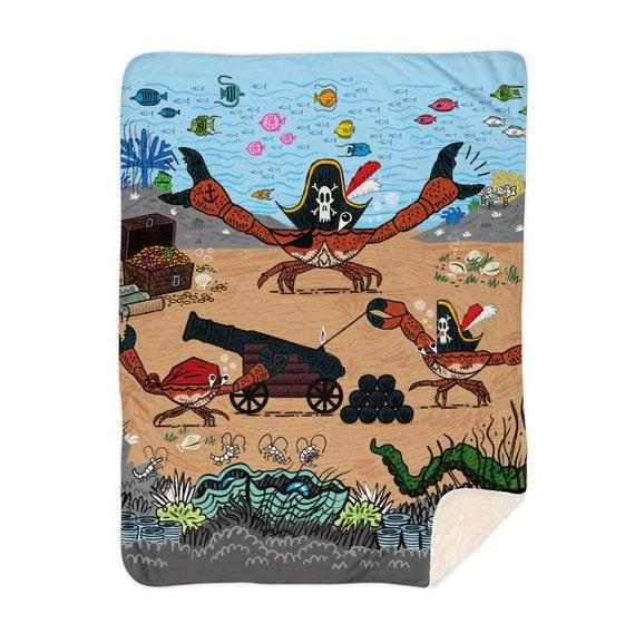 "Cannon Crabs - children's sherpa blanket - nursery decor - 60"" x 80""  by Oliver Lake iOTA iLLUSTRATiON"