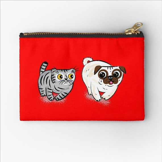 """Pug and Cat, zipper pouch,  coin purse,  pencil case, make up bag,  6"""" x 4""""  / 9.5"""" x 6"""" / 12.4"""" x 8.5"""" Oliver Lake"""