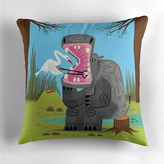Hippopotamouth -  throw pillow / cushion cover including insert by Oliver Lake - iOTA iLLUSTRATION