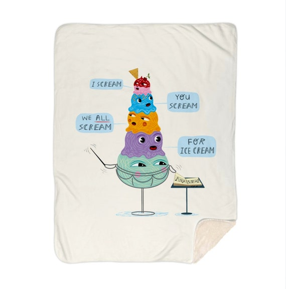 "I scream, you scream, we all scream for ice cream - children's sherpa blanket - nursery decor - 60"" x 80"" by Oliver Lake iOTA iLLUSTRATiON"