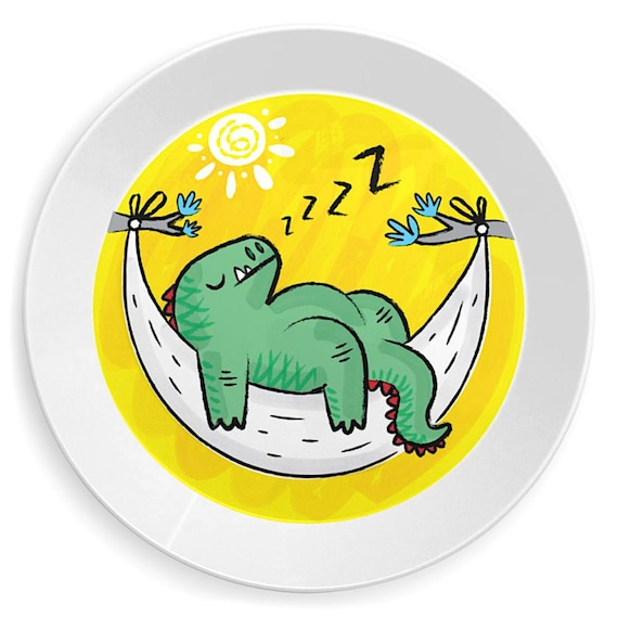 Dinosnore - dinosaur children's plate - kid's plates by Oliver Lake iOTA iLLUSTRATiON