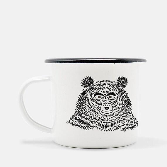 The Bear - enamel camp mug - animal design - illustrated mug by Oliver Lake