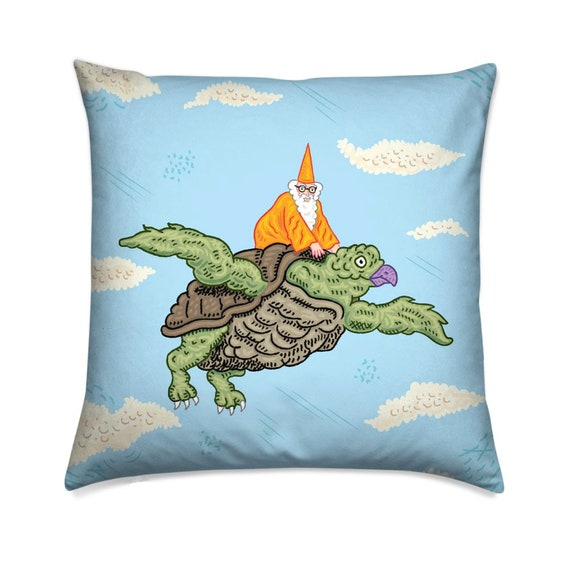 Igor and the Tahiti Turtle, children's decorative cushion cover,  throw pillow cover, including insert, by Oliver Lake