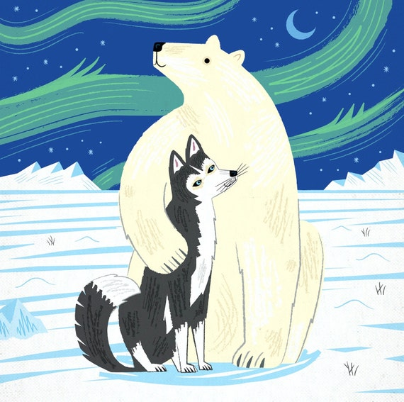 The Polar Bear and The Husky - Children's Animal Art - Nursery Art - Nursery Decor - Limited Edition Art Poster Print - iOTA iLLUSTRATiON