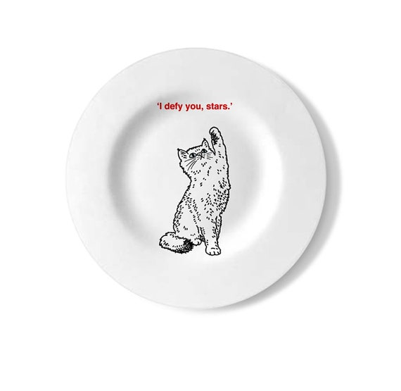 Shakespearean Cats (No.2), cat plate, decorative wall plate, handmade, black and white plate, by Oliver Lake